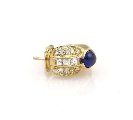 Other Estate 4.30ct Diamond & Sapphire 18k Yellow Gold Curved Hoop Earrings
