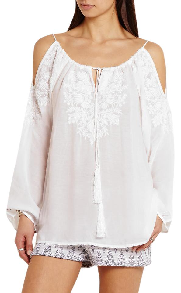 a589b5abe83 Melissa Odabash Embroidered Voile Cold Shoulder Top white Image 0 ...