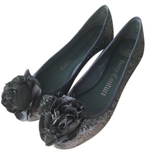 Juicy Couture Sequin Flower Pewter Dark Gray Silver Flats