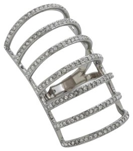 Michael Kors SIZE 6 RARE NWT Silvertone Crystal Cage Ring MKJ44260406