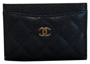 Chanel Brand New Classic Quilted Black Caviar Leather Card Holder
