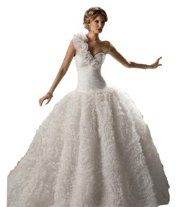 Maggie Sottero Diamond White Organza Yasmin Formal Wedding Dress Size 12 (L) - item med img