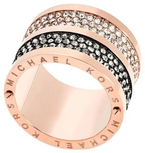 Michael Kors SIZE 7 NWT Rose Gold tone Black Pave Crystals Barrel Ring MKJ49747917