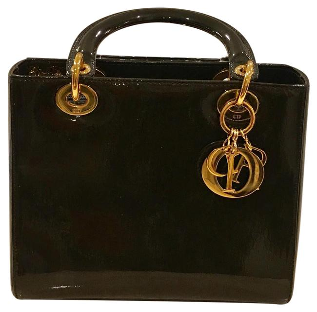 Item - Tote Medium Patent Gold Hardware Lady Di Olive Green Leather Hobo Bag