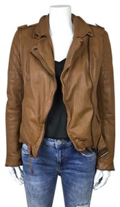 Muubaa Moto Biker Leather Goat Leather Tan Jacket