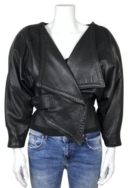 Item - Black Women's 80s Leather In Amazing Condition Jacket Size 8 (M)