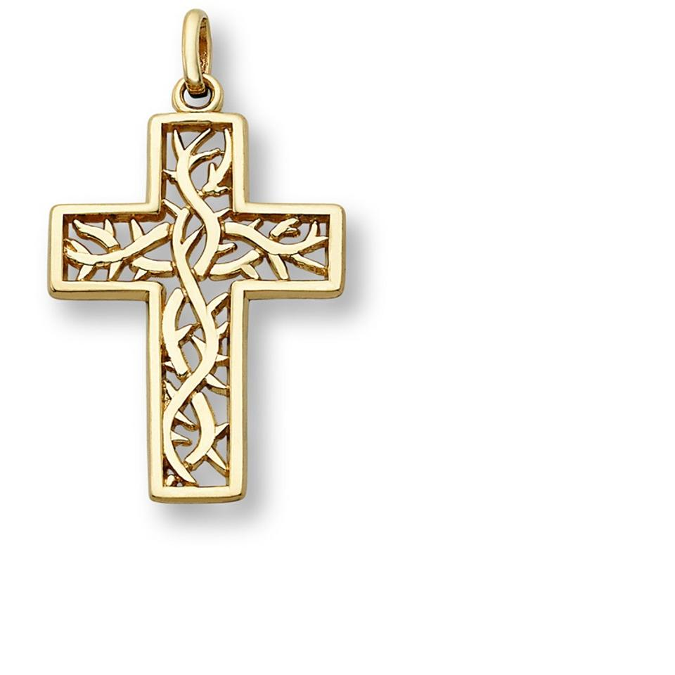 Apples of gold crown thorns cross pendant 14k yellow necklace tradesy apples of gold crown of thorns cross pendant 14k yellow gold aloadofball Image collections