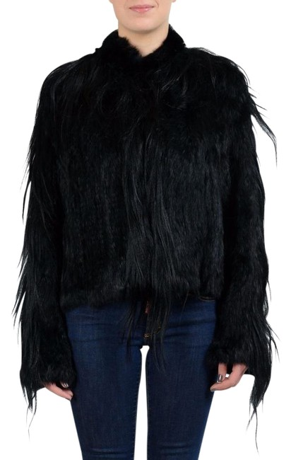 Item - Black Women's Goat Fur Button Up Jacket Size 12 (L)