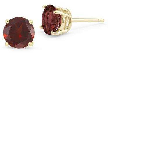 Apples of Gold Garnet Stud Earrings, 14K Yellow Gold Image 2