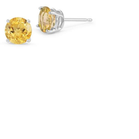 Apples of Gold Citrine Stud Earrings, 14K Yellow Gold Image 2