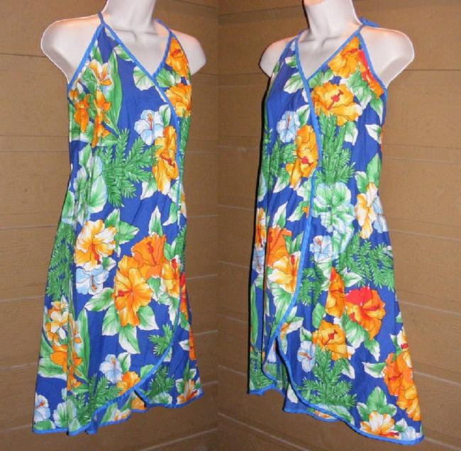 Tropical Bird short dress Blue Summer Beach Floral Strappy Vintage on Tradesy Image 1