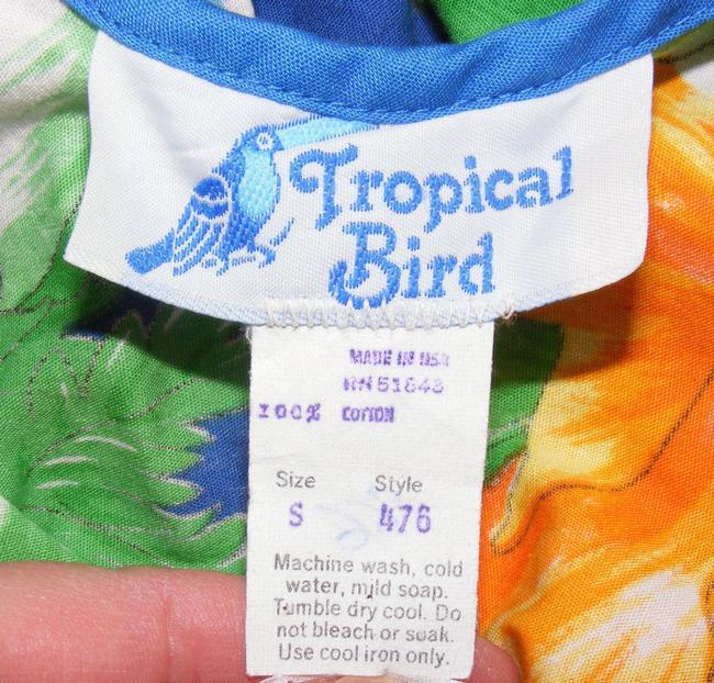 Tropical Bird short dress Blue Summer Beach Floral Strappy Vintage on Tradesy Image 4