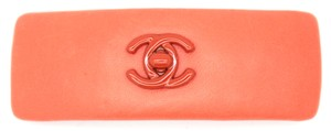 Chanel #5938 Chili Red lambskin leather CC logo Resin turnlock Hair clip