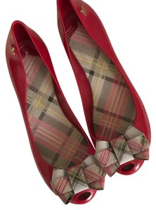 Melissa red with plaid bow Flats