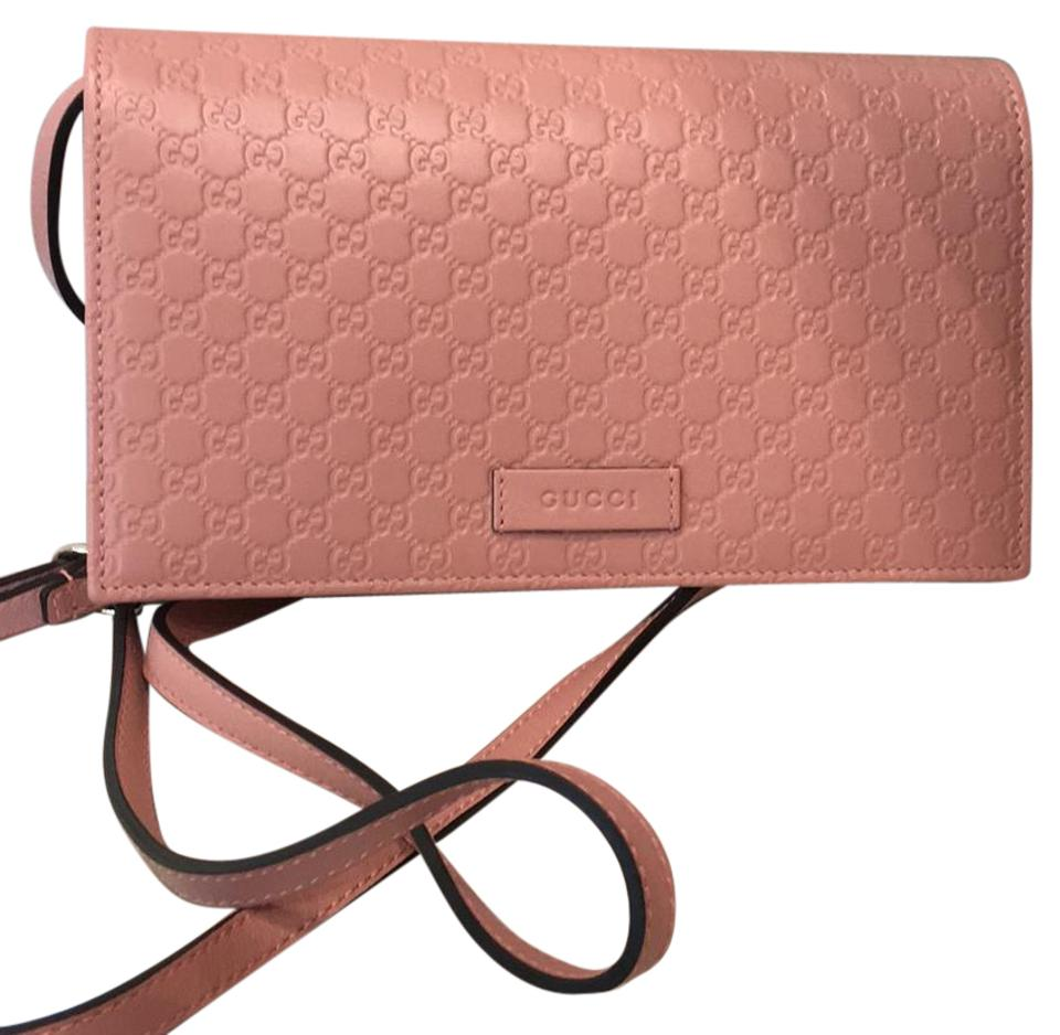 81023265b694 Gucci Gg Leather Wallet On Chain Pink Cross Body Bag - Tradesy