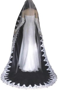 Diamond White Long One Tier French Lace Cathedral Bridal Veil