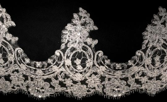 Diamond White Long One Tier French Lace Cathedral Bridal Veil Image 1