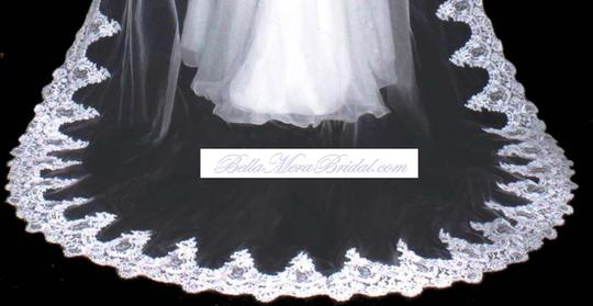 Diamond White Long One Tier French Lace Cathedral Bridal Veil Image 2