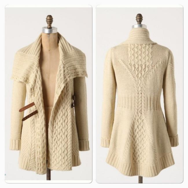 Anthropologie Angel Of The North Blanched And Buckled Belted Cardigan