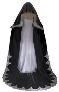 White Long Cathedral Beaded Alencon Floral Lace Bridal Veil