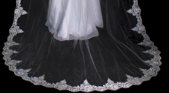 White Long Cathedral Beaded Alencon Floral Lace Bridal Veil Image 2
