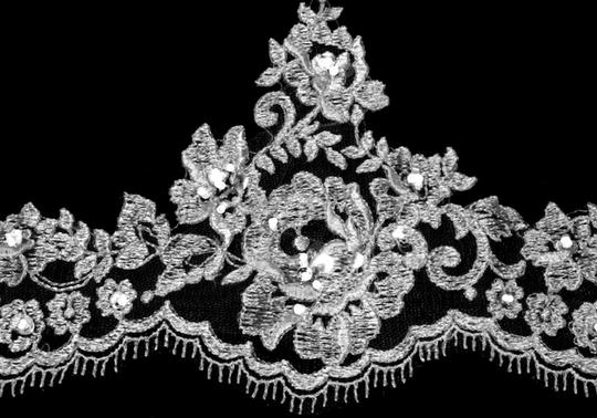 Diamond White Long Cathedral Beaded Alencon Floral Lace Bridal Veil Image 1