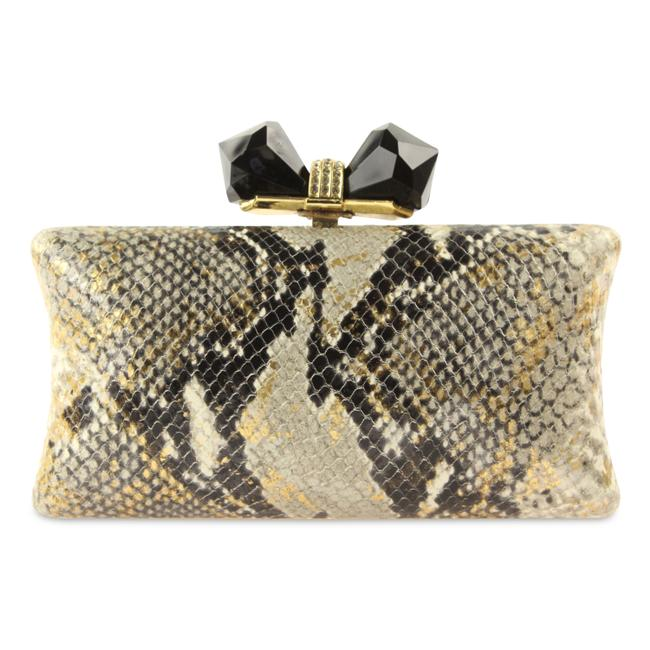 Item - Embossed Snake Gold Leather Clutch