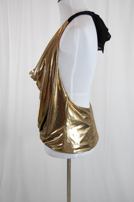 Alice + Olivia Disco Sparkle Sexy Open Back Bounce Gold Halter Top