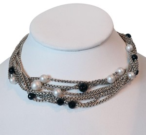 David Yurman David Yurman Multi Strand Box Chain Necklace with Pearls and Onyx