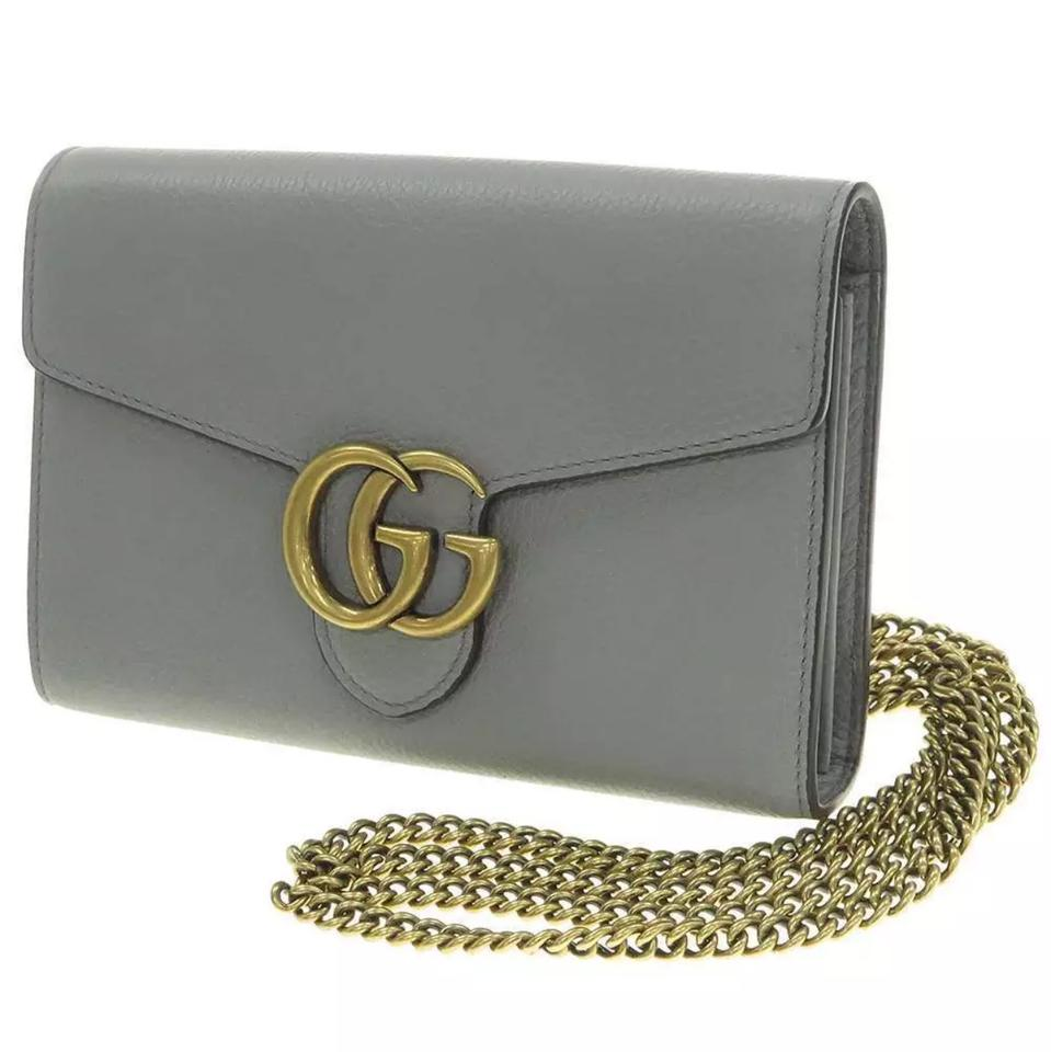 398ee3a36 Gucci Marmont Wallet On A Chain Woc Grey Leather Shoulder Bag - Tradesy