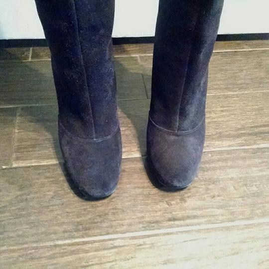 Vera Wang Lavender Label Knee High Suede Skinny Heel Stiletto Black Boots