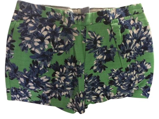 Item - Green Blue White Floral Back Zip Shorts Size 6 (S, 28)