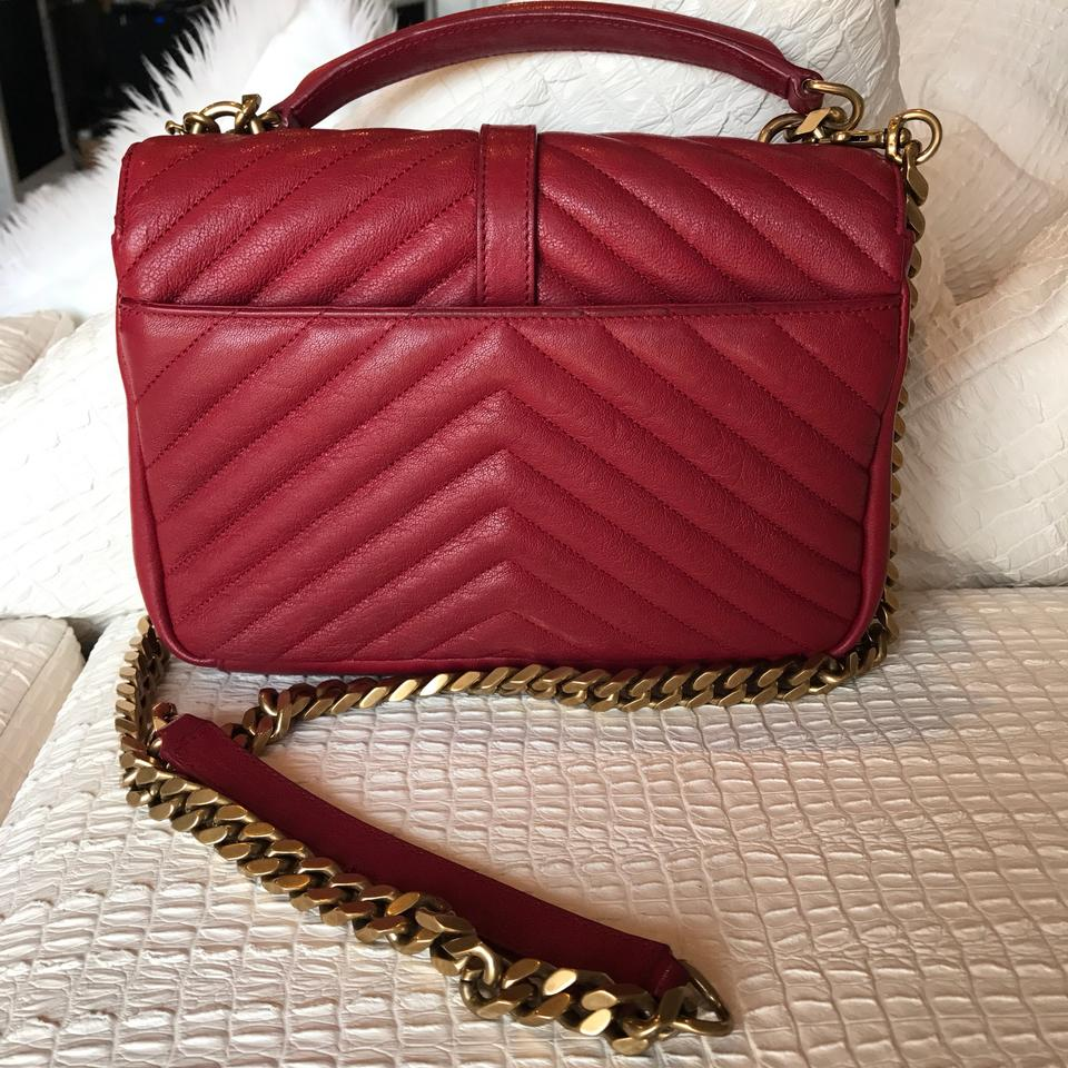adcdd0967ca5 Saint Laurent Small College Red Cross Body Bag on Tradesy