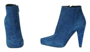 Proenza Schouler Kid Suede Rocker Blue and Black Leopard Boots