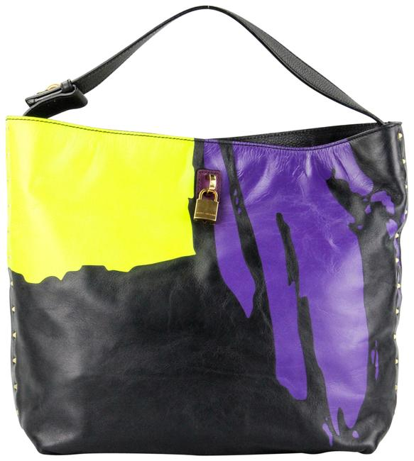 Item - Thrasher Black Purple and Yellow Leather Tote