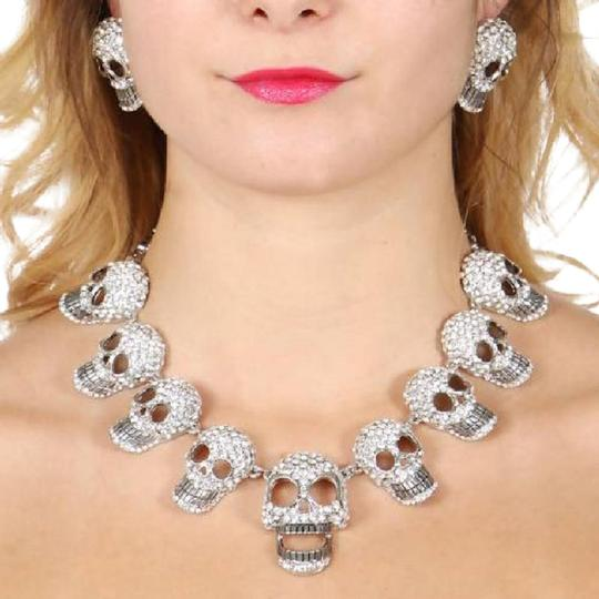 Preload https://item2.tradesy.com/images/silver-clear-rhinestone-and-crystal-skull-and-earrings-necklace-22001041-0-1.jpg?width=440&height=440