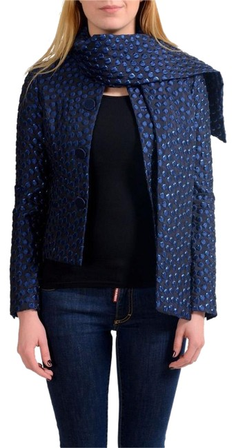 Preload https://img-static.tradesy.com/item/22001048/dsquared-navy-silk-button-down-scarf-decorated-women-s-basic-jacket-size-4-s-0-1-650-650.jpg