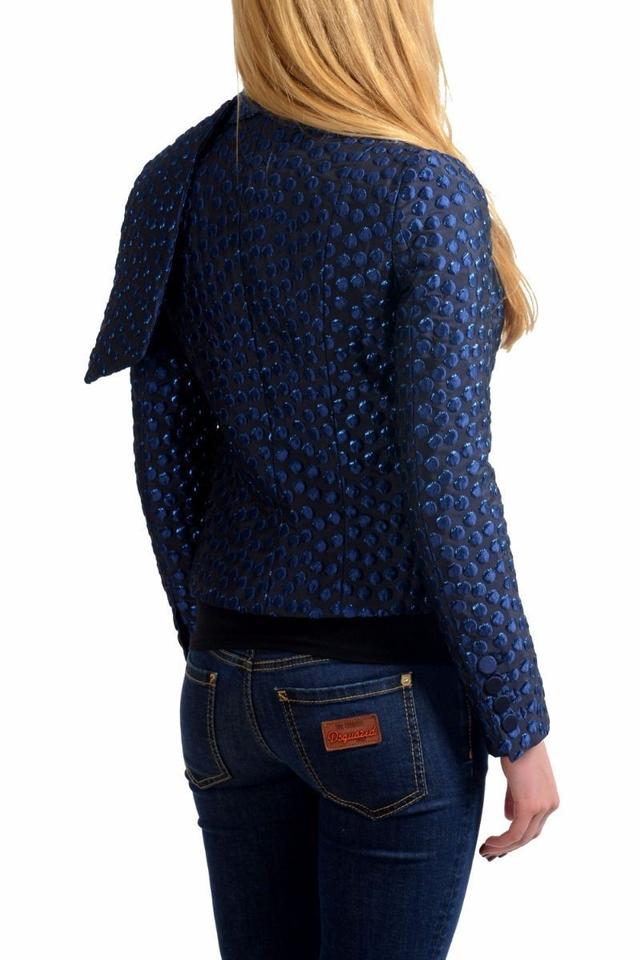 29046a32 DSquared Navy Silk Button Down Scarf Decorated Women's Basic Jacket Size 4 ( S) - Tradesy