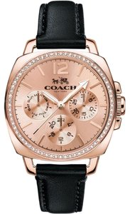 Coach Leather Strap Rose Gold Crystal Dial Boyfriend 14502125 Swiss