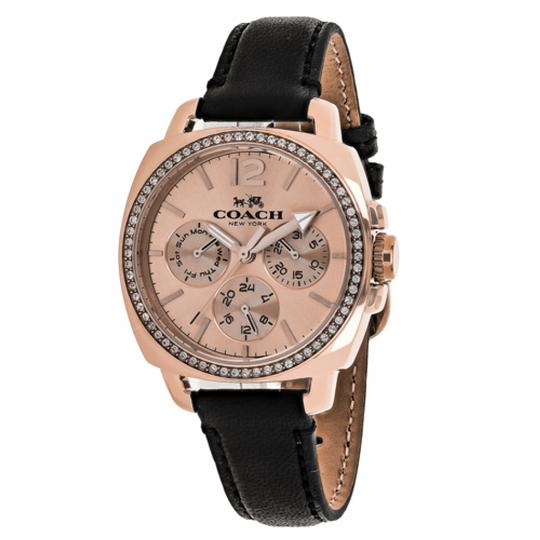 Coach New Boyfriend Leather Strap Rose Gold Dial Crystal 14502125 Swiss