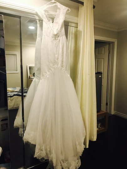 David's Bridal White Lace Swg681 Vintage Wedding Dress Size 2 (XS)