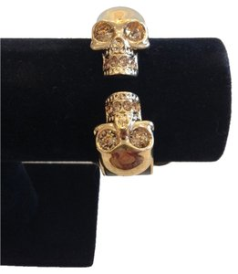 Alexander McQueen ALEXANDER MCQUEEN AUTHENTIC NWT LEATHER INSET DOUBLE SKULL CUFF BRACELET