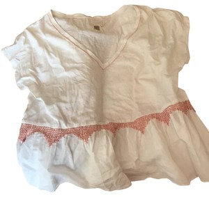 Anthropologie T Shirt white and peach