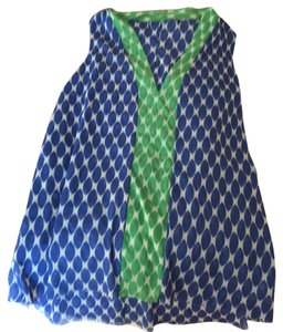 Anthropologie Top blue and green and white