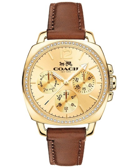 Coach Leather Strap Boyfriend Gold Crystal Dial 14502172 Image 2