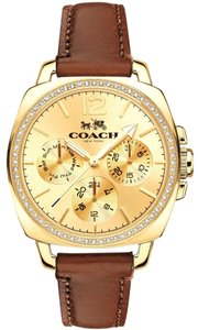 Coach Leather Strap Boyfriend Gold Crystal Dial 14502172