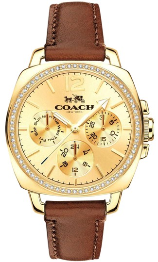 Preload https://img-static.tradesy.com/item/22001492/coach-brown-leather-strap-gold-crystal-dial-boyfriend-14502172-watch-0-1-540-540.jpg