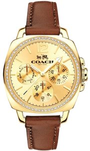 Coach Leather Strap Gold Crystal Dial Boyfriend 14502172