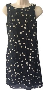 Adrianna Papell short dress Black Polka Dot Ruffle Sleeveless on Tradesy