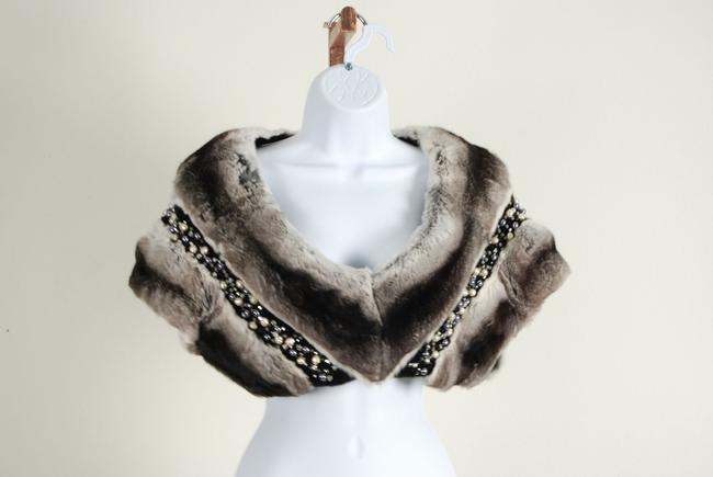 Natural Empress Chinchilla Vest Embelished Semi Precious Stones Top Multi Black Gray